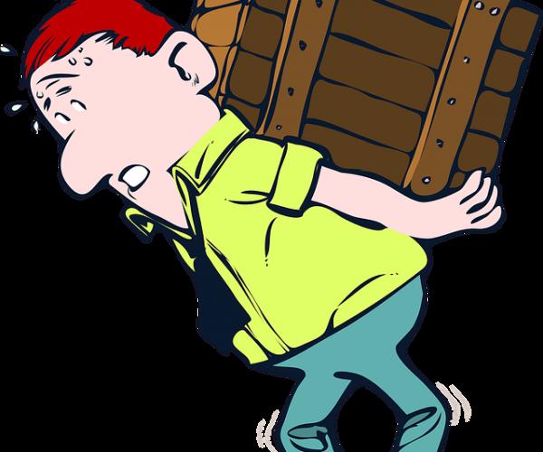 guy struggling to lift box
