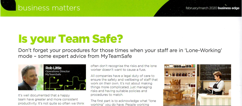 MyTeamSafe Business Edge Article Feb 2020